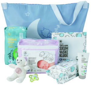 Du kan hente en gratis babypakke fra Rema1000.
